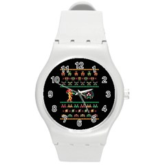 We Wish You A Metroid Christmas Ugly Holiday Christmas Black Background Round Plastic Sport Watch (m) by Onesevenart