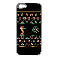 We Wish You A Metroid Christmas Ugly Holiday Christmas Black Background Apple Iphone 5 Case (silver) by Onesevenart