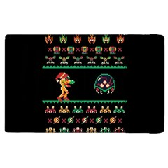 We Wish You A Metroid Christmas Ugly Holiday Christmas Black Background Apple Ipad 3/4 Flip Case by Onesevenart