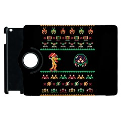 We Wish You A Metroid Christmas Ugly Holiday Christmas Black Background Apple Ipad 2 Flip 360 Case by Onesevenart