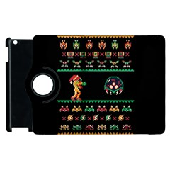 We Wish You A Metroid Christmas Ugly Holiday Christmas Black Background Apple Ipad 3/4 Flip 360 Case by Onesevenart