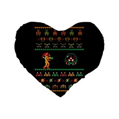 We Wish You A Metroid Christmas Ugly Holiday Christmas Black Background Standard 16  Premium Heart Shape Cushions by Onesevenart