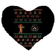 We Wish You A Metroid Christmas Ugly Holiday Christmas Black Background Large 19  Premium Heart Shape Cushions by Onesevenart