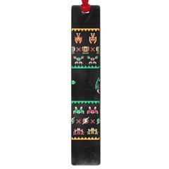 We Wish You A Metroid Christmas Ugly Holiday Christmas Black Background Large Book Marks by Onesevenart