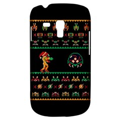 We Wish You A Metroid Christmas Ugly Holiday Christmas Black Background Samsung Galaxy S3 Mini I8190 Hardshell Case by Onesevenart