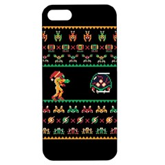 We Wish You A Metroid Christmas Ugly Holiday Christmas Black Background Apple Iphone 5 Hardshell Case With Stand by Onesevenart