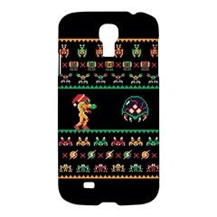 We Wish You A Metroid Christmas Ugly Holiday Christmas Black Background Samsung Galaxy S4 I9500/i9505 Hardshell Case by Onesevenart