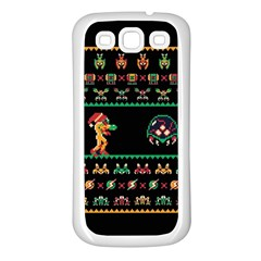 We Wish You A Metroid Christmas Ugly Holiday Christmas Black Background Samsung Galaxy S3 Back Case (white) by Onesevenart