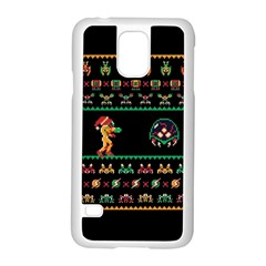 We Wish You A Metroid Christmas Ugly Holiday Christmas Black Background Samsung Galaxy S5 Case (white) by Onesevenart