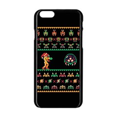 We Wish You A Metroid Christmas Ugly Holiday Christmas Black Background Apple Iphone 6/6s Black Enamel Case by Onesevenart