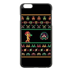 We Wish You A Metroid Christmas Ugly Holiday Christmas Black Background Apple Iphone 6 Plus/6s Plus Black Enamel Case by Onesevenart
