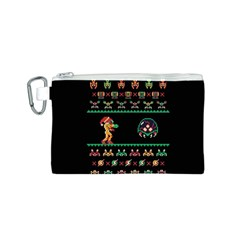 We Wish You A Metroid Christmas Ugly Holiday Christmas Black Background Canvas Cosmetic Bag (s) by Onesevenart