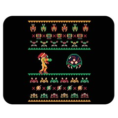 We Wish You A Metroid Christmas Ugly Holiday Christmas Black Background Double Sided Flano Blanket (medium)  by Onesevenart