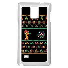 We Wish You A Metroid Christmas Ugly Holiday Christmas Black Background Samsung Galaxy Note 4 Case (white) by Onesevenart
