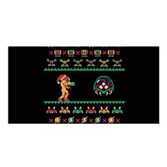 We Wish You A Metroid Christmas Ugly Holiday Christmas Black Background Satin Shawl by Onesevenart