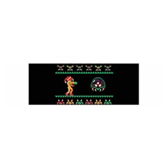 We Wish You A Metroid Christmas Ugly Holiday Christmas Black Background Satin Scarf (oblong) by Onesevenart