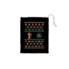 We Wish You A Metroid Christmas Ugly Holiday Christmas Black Background Drawstring Pouches (xs)  by Onesevenart