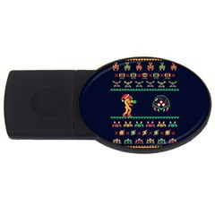 We Wish You A Metroid Christmas Ugly Holiday Christmas Blue Background Usb Flash Drive Oval (4 Gb)  by Onesevenart