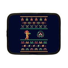 We Wish You A Metroid Christmas Ugly Holiday Christmas Blue Background Netbook Case (small)  by Onesevenart