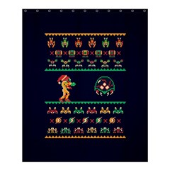 We Wish You A Metroid Christmas Ugly Holiday Christmas Blue Background Shower Curtain 60  X 72  (medium)  by Onesevenart