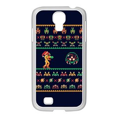 We Wish You A Metroid Christmas Ugly Holiday Christmas Blue Background Samsung Galaxy S4 I9500/ I9505 Case (white) by Onesevenart