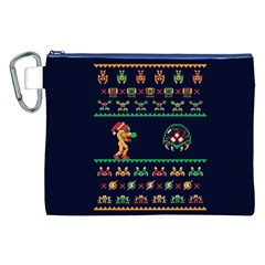 We Wish You A Metroid Christmas Ugly Holiday Christmas Blue Background Canvas Cosmetic Bag (xxl) by Onesevenart