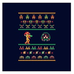 We Wish You A Metroid Christmas Ugly Holiday Christmas Blue Background Large Satin Scarf (square) by Onesevenart