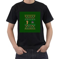 We Wish You A Metroid Christmas Ugly Holiday Christmas Green Background Men s T Shirt (black) by Onesevenart