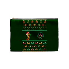 We Wish You A Metroid Christmas Ugly Holiday Christmas Green Background Cosmetic Bag (medium)  by Onesevenart