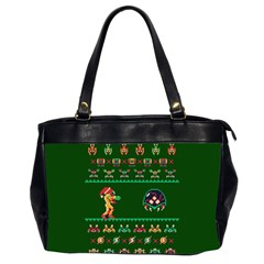 We Wish You A Metroid Christmas Ugly Holiday Christmas Green Background Office Handbags (2 Sides)  by Onesevenart