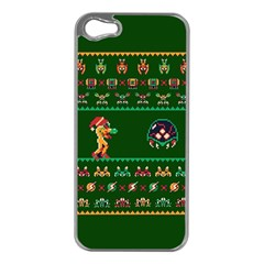 We Wish You A Metroid Christmas Ugly Holiday Christmas Green Background Apple Iphone 5 Case (silver) by Onesevenart