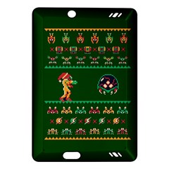 We Wish You A Metroid Christmas Ugly Holiday Christmas Green Background Amazon Kindle Fire Hd (2013) Hardshell Case by Onesevenart