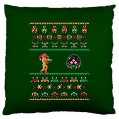 We Wish You A Metroid Christmas Ugly Holiday Christmas Green Background Standard Flano Cushion Case (One Side) by Onesevenart