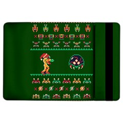We Wish You A Metroid Christmas Ugly Holiday Christmas Green Background Ipad Air 2 Flip by Onesevenart