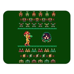 We Wish You A Metroid Christmas Ugly Holiday Christmas Green Background Double Sided Flano Blanket (large)  by Onesevenart