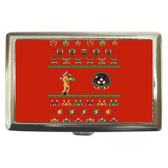 We Wish You A Metroid Christmas Ugly Holiday Christmas Red Background Cigarette Money Cases by Onesevenart