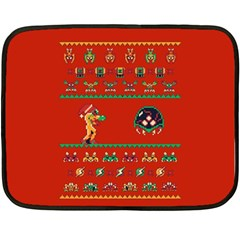 We Wish You A Metroid Christmas Ugly Holiday Christmas Red Background Fleece Blanket (mini) by Onesevenart