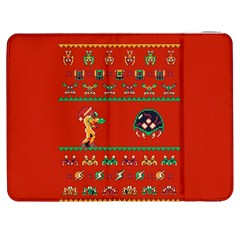 We Wish You A Metroid Christmas Ugly Holiday Christmas Red Background Samsung Galaxy Tab 7  P1000 Flip Case by Onesevenart