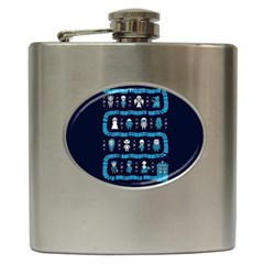 Who Is Outside Ugly Holiday Christmas Blue Background Hip Flask (6 Oz) by Onesevenart
