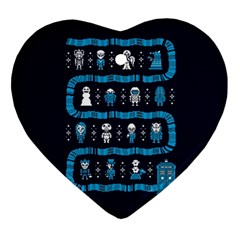 Who Is Outside Ugly Holiday Christmas Blue Background Heart Ornament (2 Sides) by Onesevenart