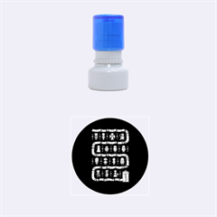 Who Is Outside Ugly Holiday Christmas Blue Background Rubber Round Stamps (small) by Onesevenart