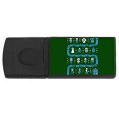 Who Is Outside Ugly Holiday Christmas Green Background Usb Flash Drive Rectangular (4 Gb)  by Onesevenart
