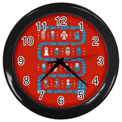 Who Is Outside Ugly Holiday Christmas Red Background Wall Clocks (black) by Onesevenart