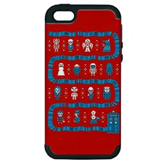Who Is Outside Ugly Holiday Christmas Red Background Apple Iphone 5 Hardshell Case (pc+silicone) by Onesevenart