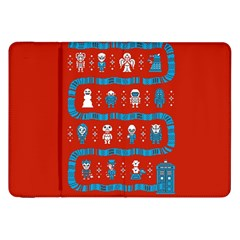 Who Is Outside Ugly Holiday Christmas Red Background Samsung Galaxy Tab 8 9  P7300 Flip Case by Onesevenart