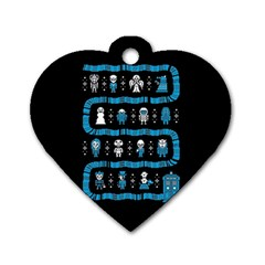 Who Is Outside Ugly Holiday Christmas Black Background Dog Tag Heart (two Sides) by Onesevenart