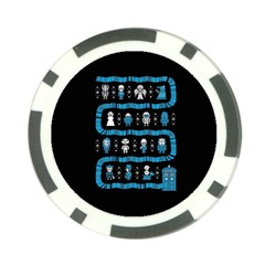 Who Is Outside Ugly Holiday Christmas Black Background Poker Chip Card Guards by Onesevenart
