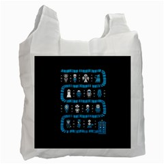 Who Is Outside Ugly Holiday Christmas Black Background Recycle Bag (one Side) by Onesevenart