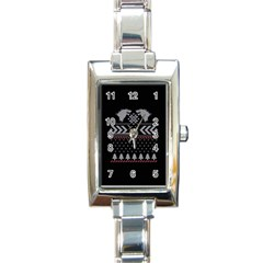 Winter Is Coming Game Of Thrones Ugly Christmas Black Background Rectangle Italian Charm Watch by Onesevenart