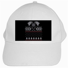 Winter Is Coming Game Of Thrones Ugly Christmas Black Background White Cap by Onesevenart
